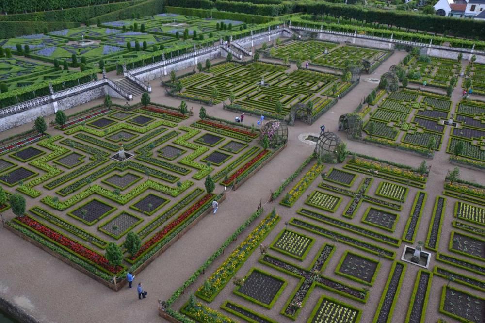 Les jardins de Villandry depuis les toits du château