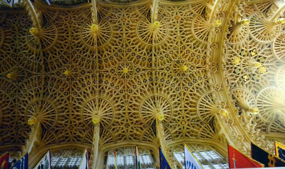 Plafond sculpté de la chapelle Notre-Dame d'Henry VII (c- abbaye de Westminster, monographie)