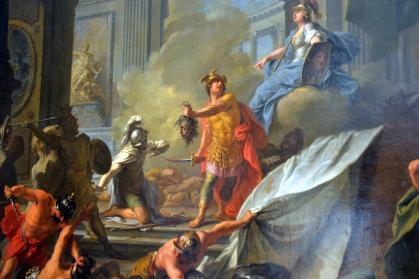 Jean-Marc Nattier, Persée, assisté par Minerve, pétrifie Phinée et ses compagnons en leur présentant la tête de Méduse - 1718