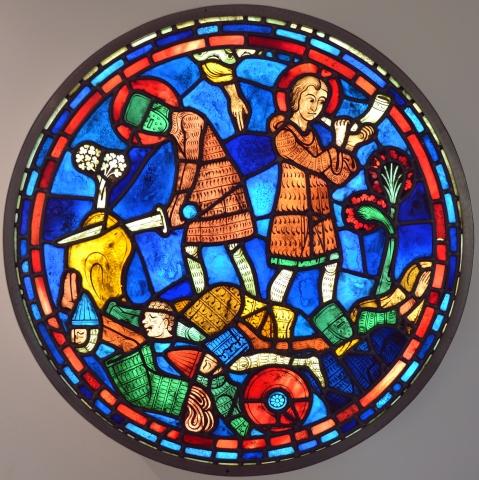 Mort de Roland à Ronceveaux d'après un médaillon d'une verrière sur la vie de Charlemagne de la cathédrale de Chartres - 1942