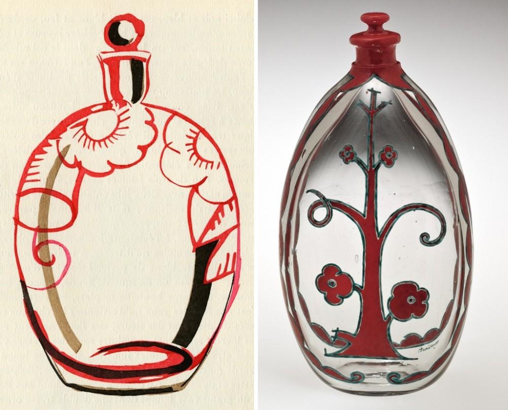 dessin-preparatoire-et-realisation-verrerie-dessin-gruillaume-Janneau-verre-Marinot-1920