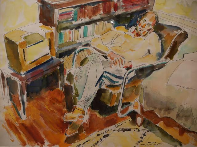 marinot-aquarelle-Pierre-Levy-dans-sa-bibliothèque