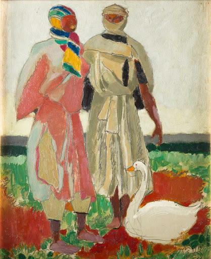marinot-au-maroc-deux-arabes-a-l-oie-musee-beayx-arts-quimper-1917-huile-sur-carton-27X22cm