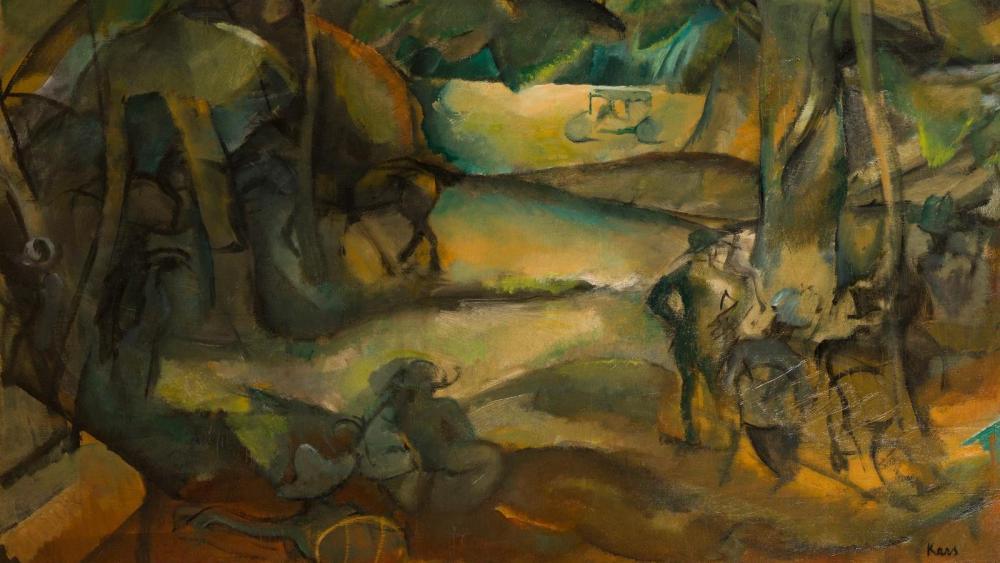 repos-au-bois-georges-Kars-1916-huile-sur-toile-81X100cm